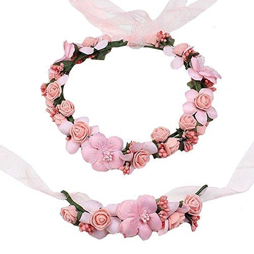 iShine Diadema Corona Flores para Cabello Guirnalda Flores Artificiales para el pelo Elegante Decoradas para Boda Fiesta Viaje(Rosa): Amazon.es: Hogar