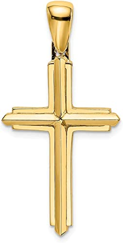 14k Yellow Gold Engravable Cross Religious Pendant Charm Necklace Latin Fine Jewelry Gifts For Women For Her
