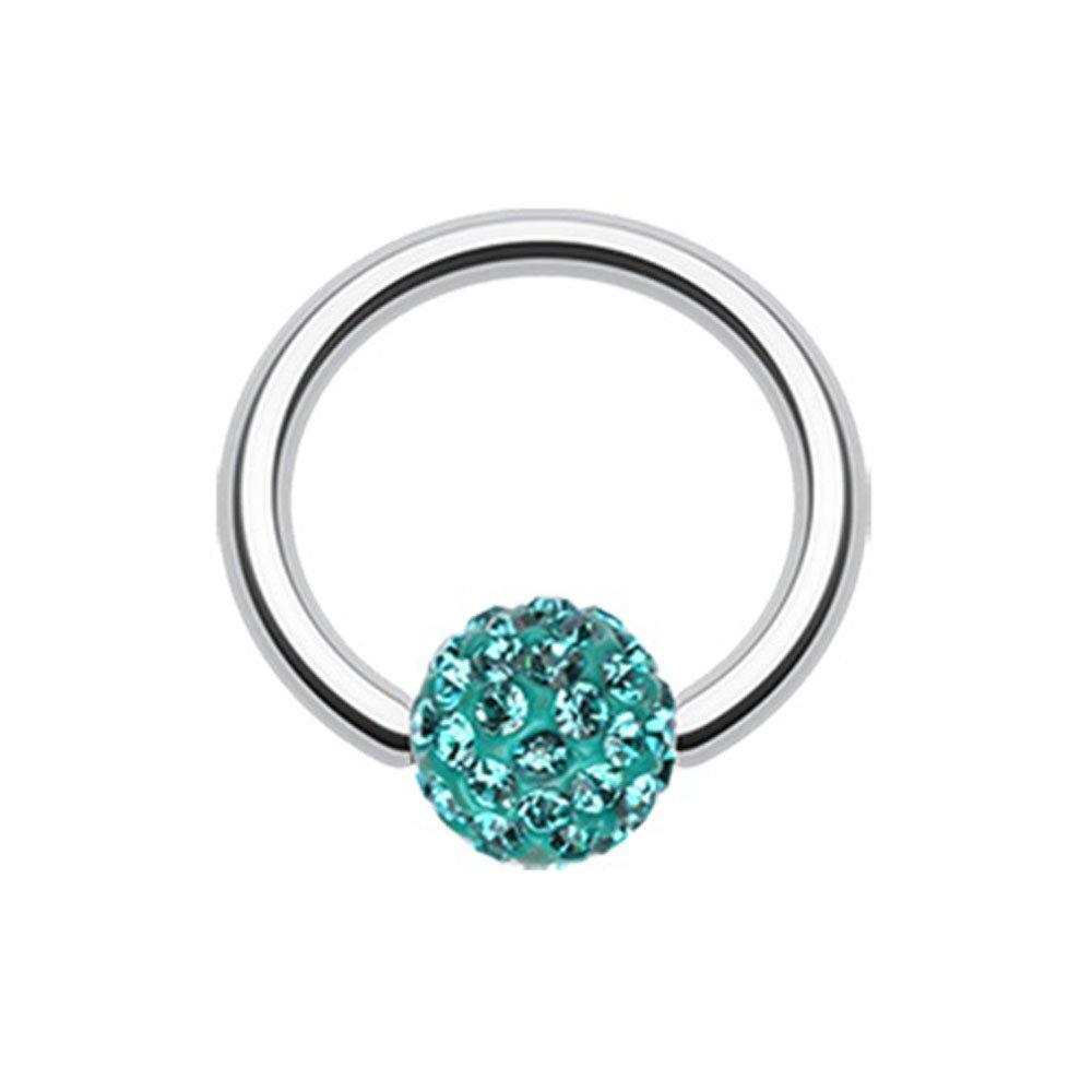 Teal Multi-Sprinkle Dot Multi Gem Captive Bead Ring
