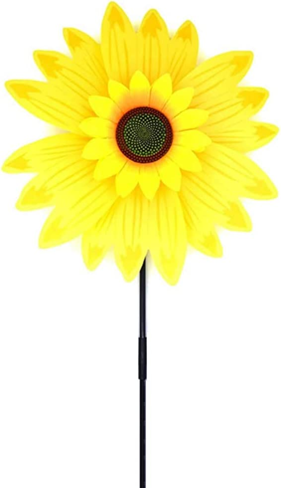 Medoore 14 inch Yellow Sunflower Pinwheels Wind Spinners Garden Party Pinwheel Windmill Toys Suitable for Garden, Party, Outdoor, Yard, Decoration