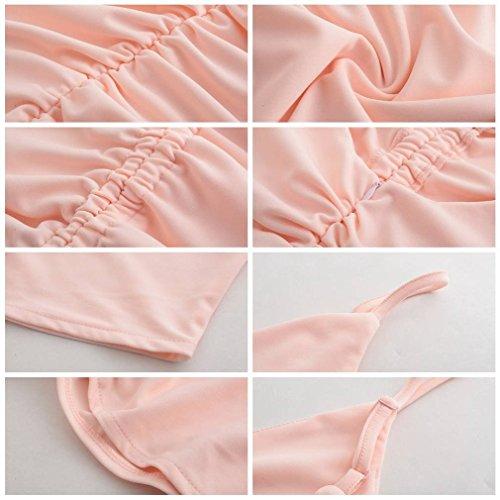 Yiyilai Femmes Froncé V Cou Sangle Cami Mince V Dos Robe Bandage Rose