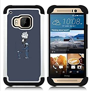 GIFT CHOICE / Defensor Cubierta de protección completa Flexible TPU Silicona + Duro PC Estuche protector Cáscara Funda Caso / Combo Case for HTC ONE M9 // Balloon Friends //