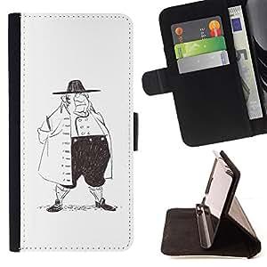 BullDog Case - FOR/Samsung Galaxy S6 / - / MAN HISTORY FASHION PENCIL DRAWING ART BIG /- Monedero de cuero de la PU Llevar cubierta de la caja con el ID Credit Card Slots Flip funda de cuer