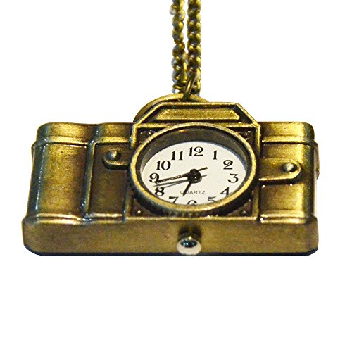 Antique Camera Design Pocket Watch, Gold,Analog Pendant Necklace Chain (Antique Ladies Watch)