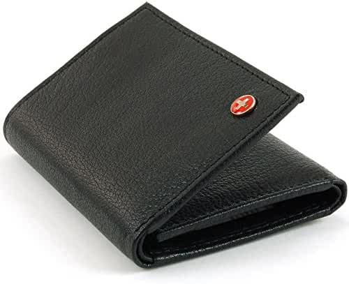 Alpine Swiss Mens RFID Blocking Trifold Wallet Genuine Leather