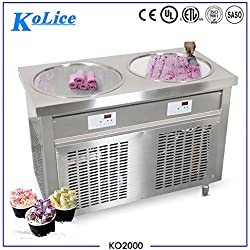 Free shipment US Franchise 110V/60HZ Kolice 50cm double round pans yogurt fry ice cream roll machine frozen yogurt roll ice cream machine gelato fried ice cream machine snack food machine street food machine