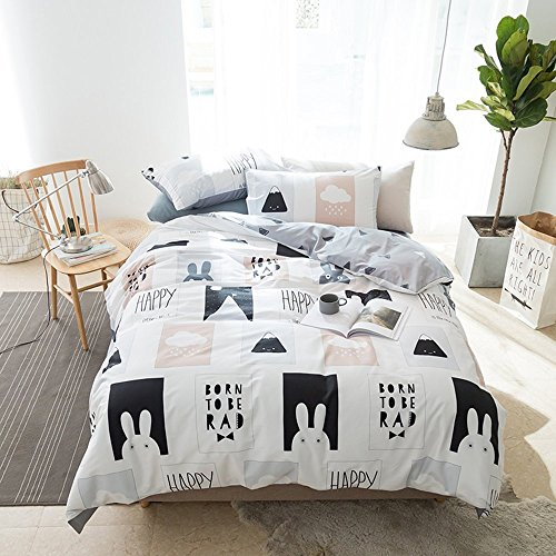 AMWAN Cartoon Rabbit Print Kids Bedding Duvet Cover Set Cotton Geometric Reversible Bedding Set Queen Boys Girls Duvet Comforter Cover Set 3 Piece Children Bedding Collection Queen Bed for Summer by AMWAN (Image #1)