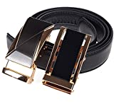 Men's Belt Slide Ratchet Belts for Men - Genuine Leather with 2 Automatic Buckles - Gift Box