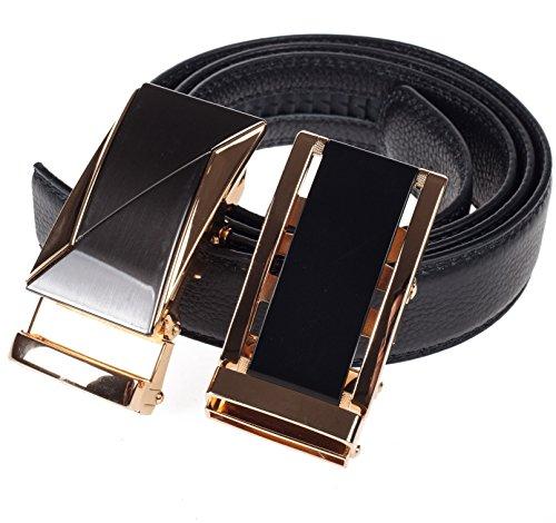 Ratchet Belt for Men - Black Leather 2 Automatic Buckles - Adjustable Comfort Click - Gift Box 3 sizes, 2 colors (L, black/gold buckles) ()