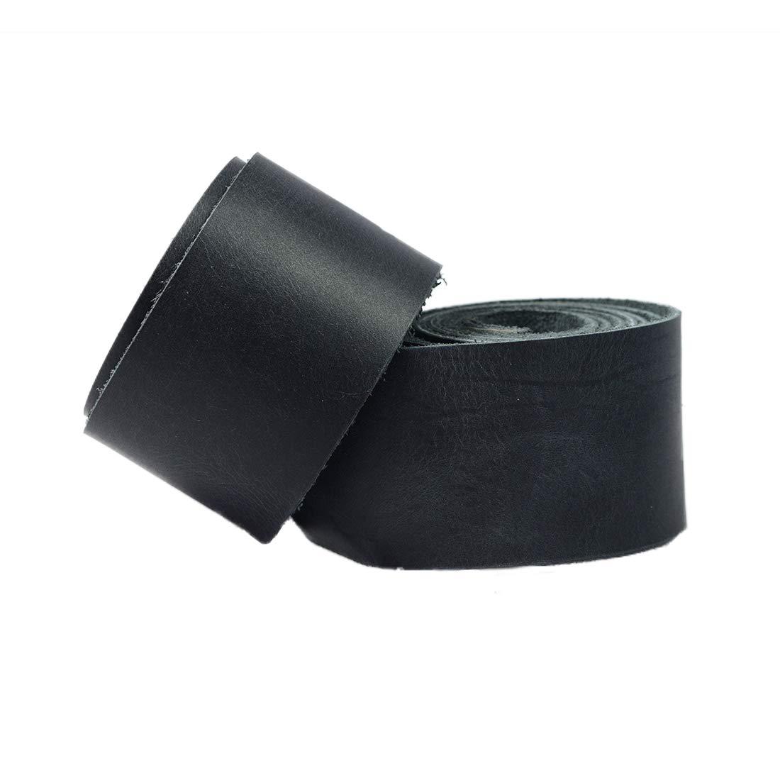 Hide & Drink レザー ストロングストラップ 幅1.5インチ コード編組ストリング 中重量 (1.8mm厚) 長さ48インチ クラフト/ツール/ワークショップ用 ::チャコールブラック B07KYV9RZY