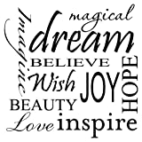 MAGICAL DREAM IMAGINE BELIEVE WISH JOY HOPE BEAUTY LOVE INSPIRE Vinyl wall ar...