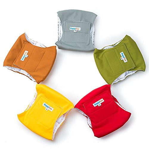 Reusable Washable Dog Belly Bands (5 Pack) - Durable Comfortable Stylish Dog Wraps for Male Dogs - Premium Quality (L) (Durable Washable)