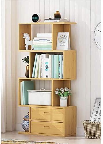 寝室のための本棚 ホーム棚の表示ストレージにリビングルームオフィス無料立ち木製本棚ラック 床置き本棚 (色 : Yellow, Size : A)