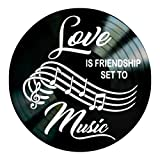 Love Friendship Music quote on a Vinyl Record Album Wall Decor