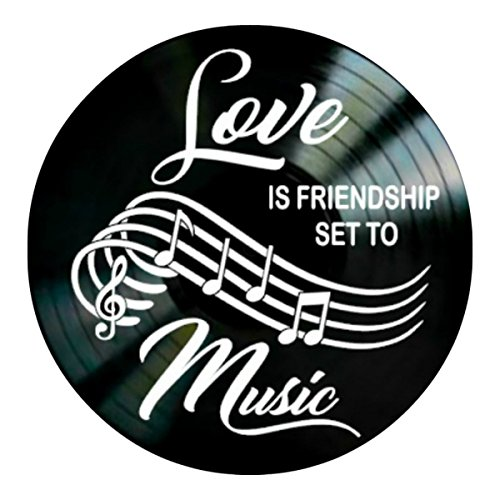 Love Friendship Music quote on a Vinyl Record Album Wall Decor by VinylRevamped