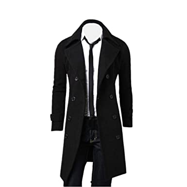 a11843b625cc Jamicy Men Winter Long Jacket Stylish Trench Double Breasted Parka Casual  Cotton Coat (M,