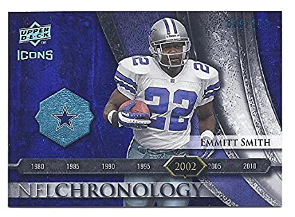 578bfe0340a4 EMMITT SMITH 2008 Upper Deck Icons NFL Chronology  CHR28 BLUE PARALLEL Card  Numbered to only