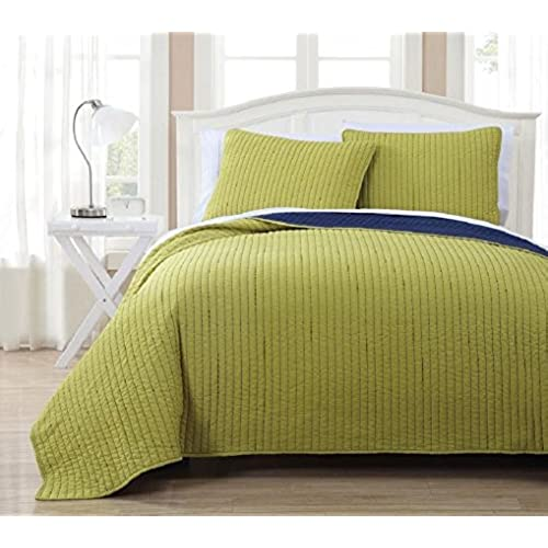 Wholesalebeddings Coverlet Queen Size Citron With Navy Reversible  Embroidered 3pc Quilt Set