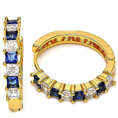 soAR9opeoF Women Earrings Fashion Square Faux Sapphire Rhinestone Huggie Earrings Party Jewelry - Golden