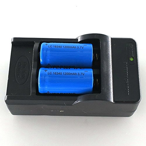 STAND HIGH 3.7v 2pcs 1200mAh 16340 CR123A Rechargeable Li-Ion Battery(Blue) + Smart Charger