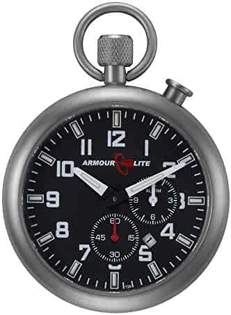 Black Dial Alarm Clock Tritium Pocket Watch by Armourlite
