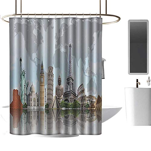 coolteey Shower Curtains Kids City Decor,Cityscape World Monuments 7 Wonders Eiffel Pisa Big Ben Decor Architecture Art Print,Blue Gray Green Beige and Tan,W72 x L72,Shower Curtain for Women