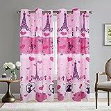 Elegant Home Paris Eiffel Tower Bonjour Design Multicolors Pink Girls/Kids Room Window Curtain Treatment Drapes 2 Piece Set with Grommets # Paris