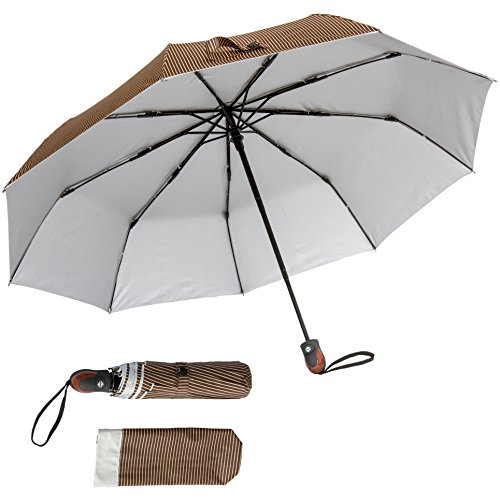 Bay Brown Rib - Automatic Open/Close Pinstriped Umbrella (Brown) – Features UV Protectant Liner