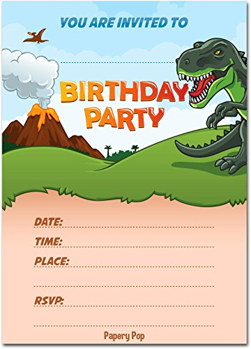 30 Dinosaur Birthday Invitations with Envelopes (30 Pack) - Kids Birthday Invitations for Boys or Girls - Dinosaur Party Decorations Supplies