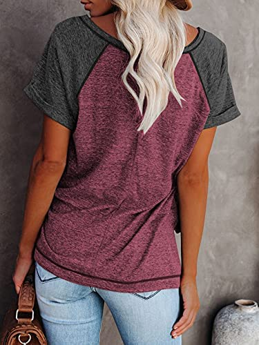 Women's Summer Short Sleeve Raglan Crewneck Tees T Shirts Casual Loose Fit Blouse Tops