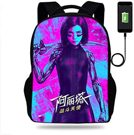 Twhoixi Alita Battle Angel Print Rucksack Für Jugendliche Mädchen Schultaschen Reisetasche Kinder Schule USB Rucksäcke