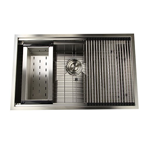 Nantucket Sinks ZR-PS-3220-16 Pro Series Large Prep Station Single Bowl Undermount Stainless Steel Kitchen Sink with Included Rolling Mat, Grid, Colander and Drain, 32