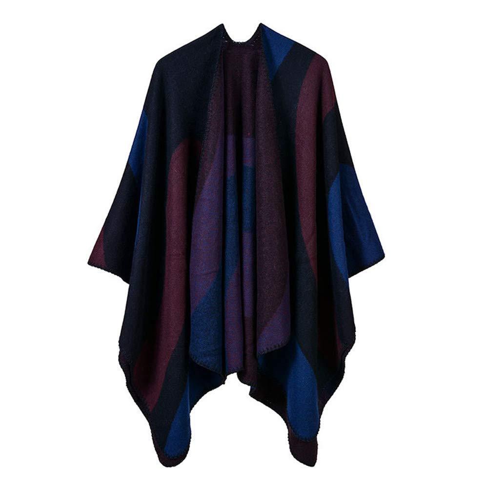 Red Scarves Women's Winter Reversible Oversized Blanket Poncho Cape Shawl Cardigans Print Shawl wrap (color   Khaki)