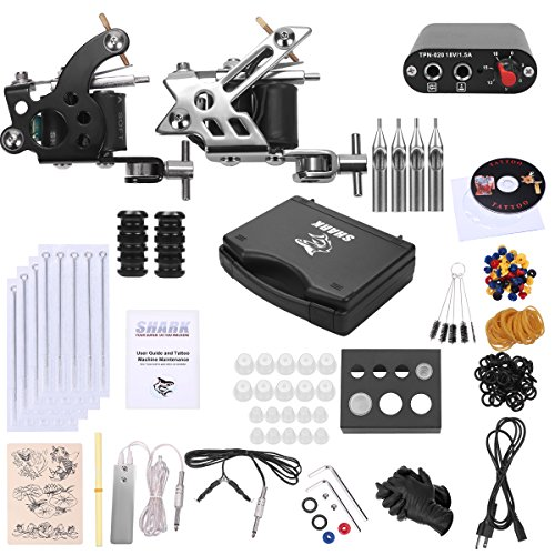 Shark® Complete Pro Tattoo Kit 2 Machines Gun with Plastic Carry Case Power Supply Needles Grips Tips by Shark