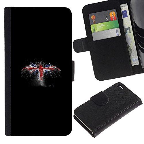 Funny Phone Case // Cuir Portefeuille Housse de protection Étui Leather Wallet Protective Case pour Apple Iphone 4 / 4S /UK Flag Grunge/