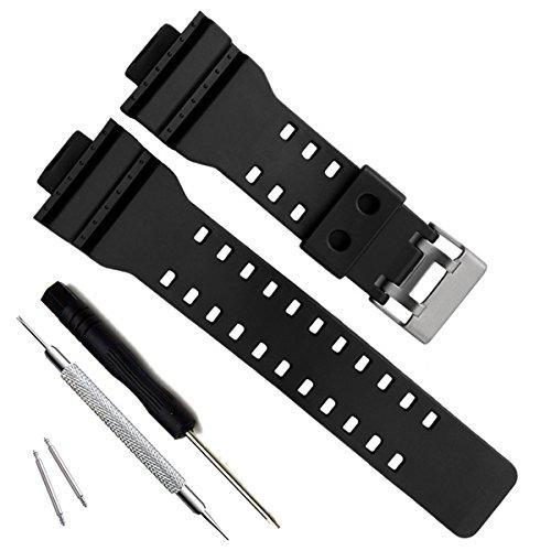 Natural Resin Replacement Watch Band Strap for Casio Mens G-Shock GD120/GA-100/GA-110/GA-100C (G-shock Black Resin Band)