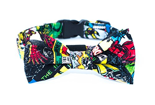 Boy Dog Collar with Bow Tie Marvel Comic Dog Bow Tie Collar Cartoon Superheroes Dog Bow Tie Collar Cool Male Dog Collar Bow Tie for Puppy