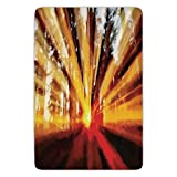 Bathroom Bath Rug Kitchen Floor Mat Carpet,Country Decor,Photo of Magical Sunbeams Lighting through Trees at Sunset in the Forest Nature Print,Yellow Orange,Flannel Microfiber Non-slip Soft Absorbent