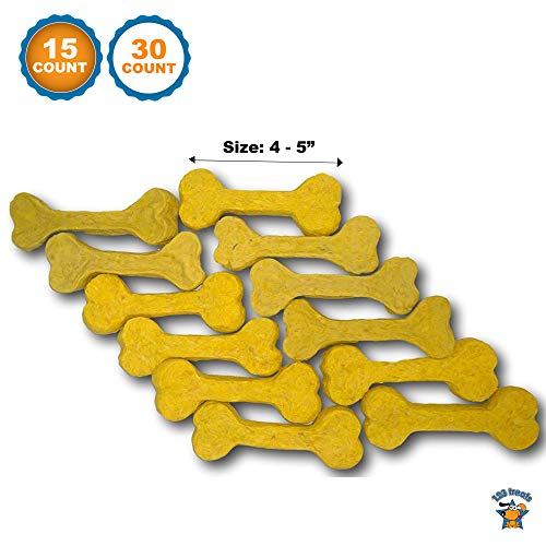 123 Treats | 4-5 inches Munchie Pressed Rawhide Cheese Flavored Bone (15 Count) Packed in The USA ()