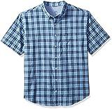 IZOD Boys' Big and Tall Saltwater Chambray Plaid Short Sleeve Shirt