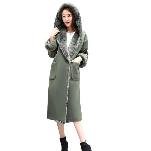Mujeres Long Slim abrigo de lana con capucha(7001)