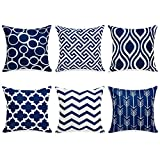 Topfinel Navy Cushion Cover Canvas Decorative Square Throw Pillow Cases for Sofa Bedroom 18 x 18 Inch, with Invisible Zipper 45cm x 45cm,Set of 6