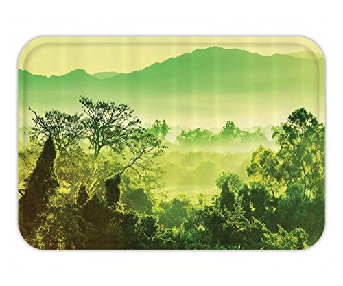 Beshowere Doormat Green Scenic Tropical Jungle Mexico Green Exotic Nature CactuSepia Emerald Picture Art DecorationModern Decor Pacific Palm PlantPolyester Fabric Blue Lime - Mexico Versace