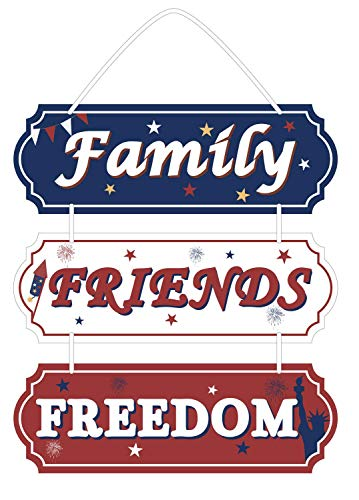 jollylife 4th/Fourth of July Hanging Sign Decorations -Friends Family Freedom - Patriotic Red White Blue Party Supplies Decor