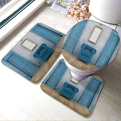 Bathroom Rugs Mats Set 3 Pieces Antique,Empty Room with Two Doors Armchair -