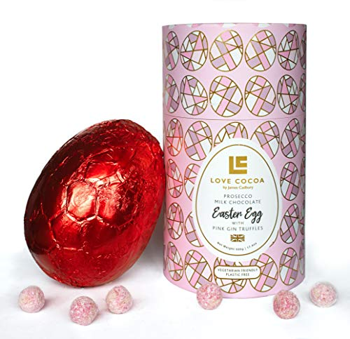 Love Cocoa Boozy Prosecco and Pink Gin Luxury Chocolate Easter Egg 500g (Thick Egg & pink gin chocolate truffles) Easter…