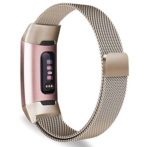 Oitom Metal Bands Compatible Fitbit Charge 3 Band Women Men Small,Magnetic Stainless Steel Milanese Loop Replacement Band Wrist Straps Accessories(Small 5.1-6.7,Champagne)