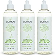 Puracy Natural Liquid Dish Soap, Sulfate-Free Detergent, Green Tea and Lime, 16 Ounce Bottle, (Pack of 3)