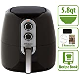 Simple Living 5.8qt XL Air Fryer with Cooking Divider, Rack & Recipe Book. Perfect Sized Family Air Fryer
