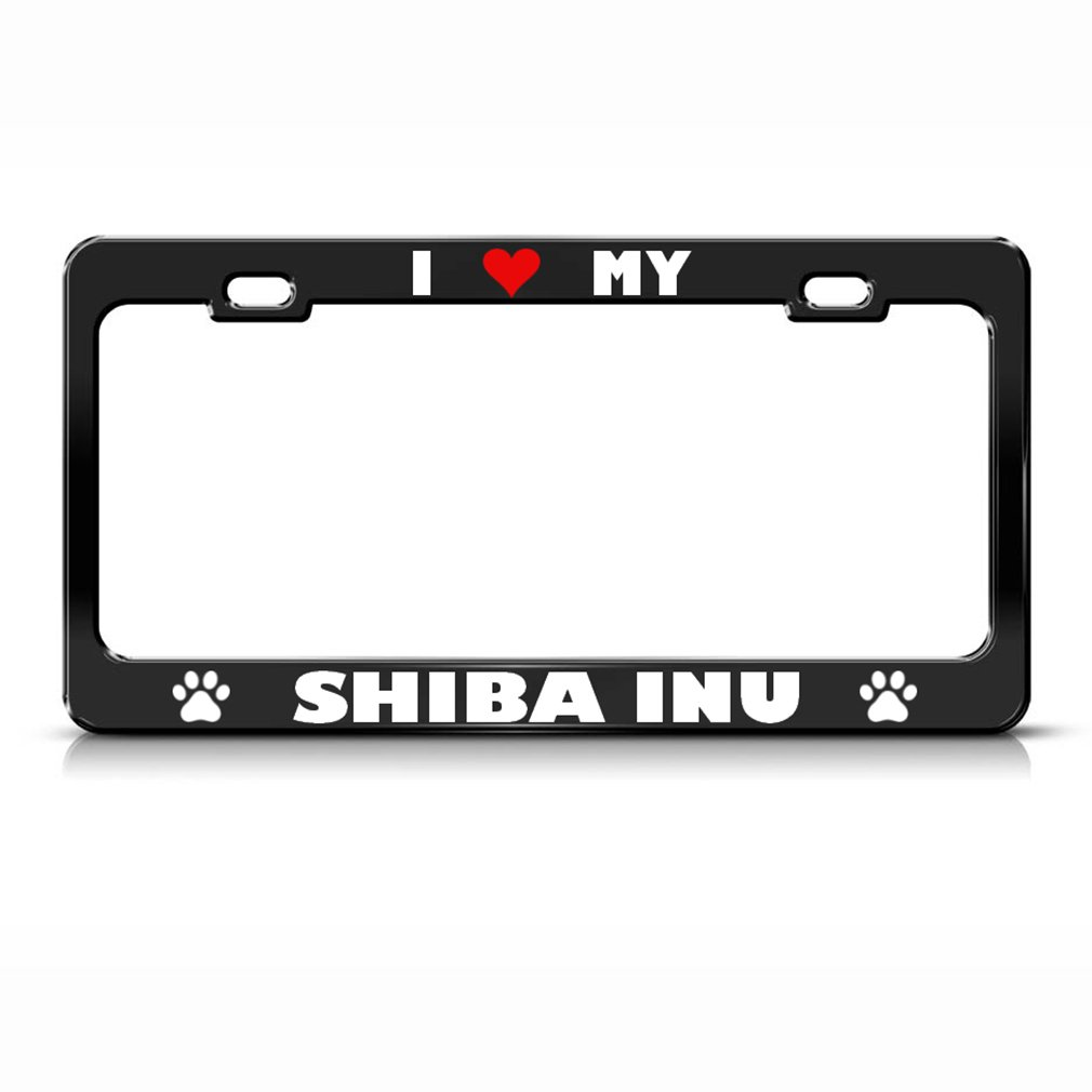 Shiba Inu Paw Love Heart Pet Hund Metall Nummernschild Rahmen Tag ...
